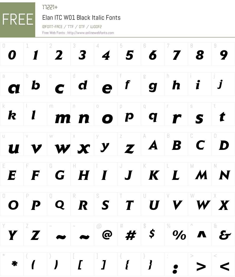 ElanITCW01-BlackItalic Font Screenshots