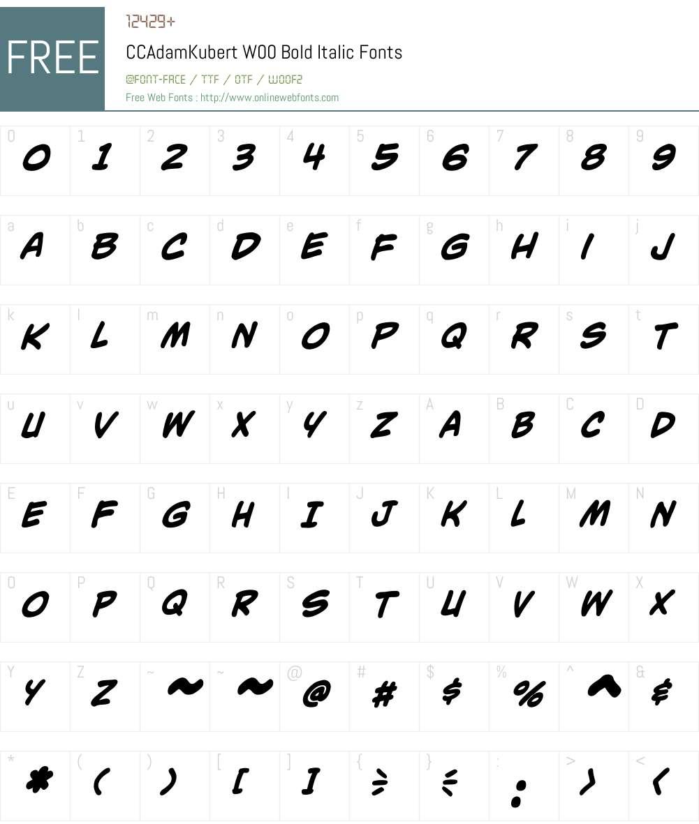 CCAdamKubertW00-BoldItalic Font Screenshots