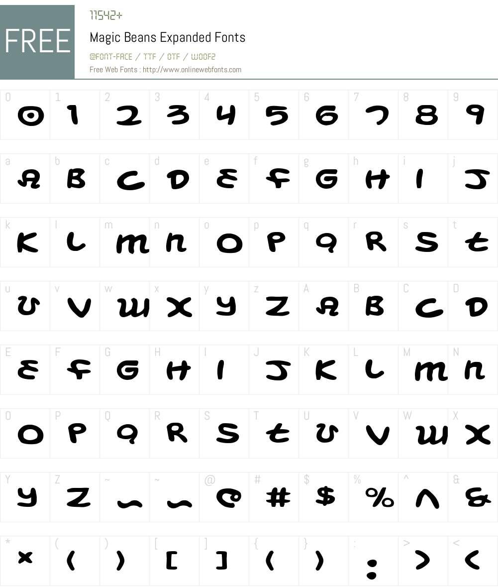 Magic Beans Expanded Font Screenshots