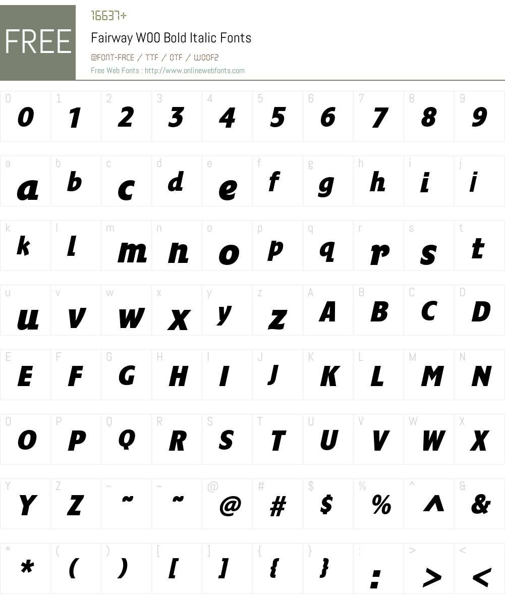FairwayW00-BoldItalic Font Screenshots