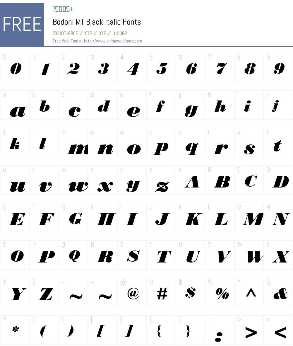 Bodoni MT Black Font Screenshots