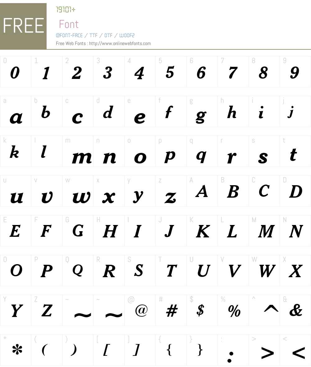CheltenhamW01-BoldItalic Font Screenshots