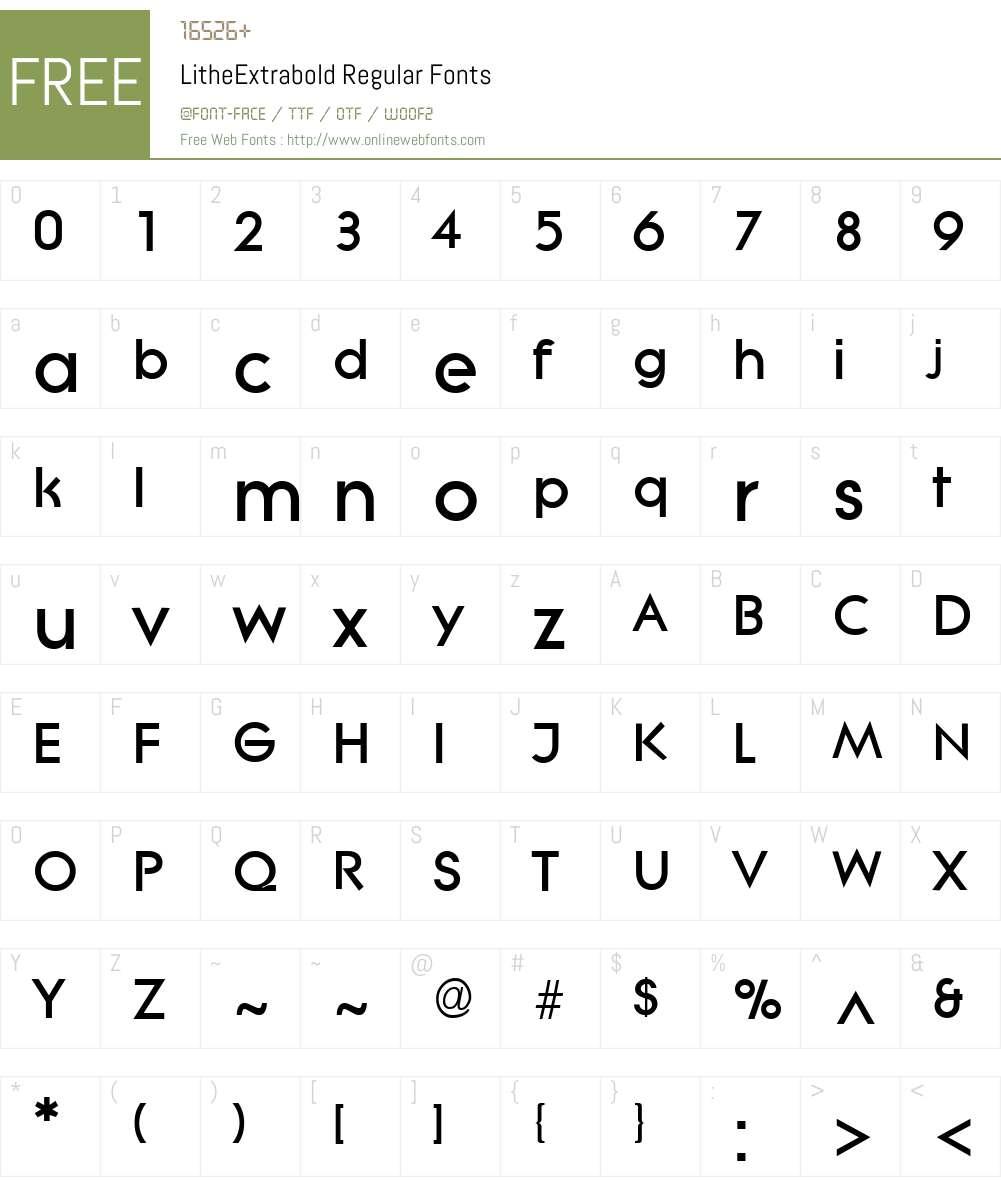 LitheExtrabold Font Screenshots