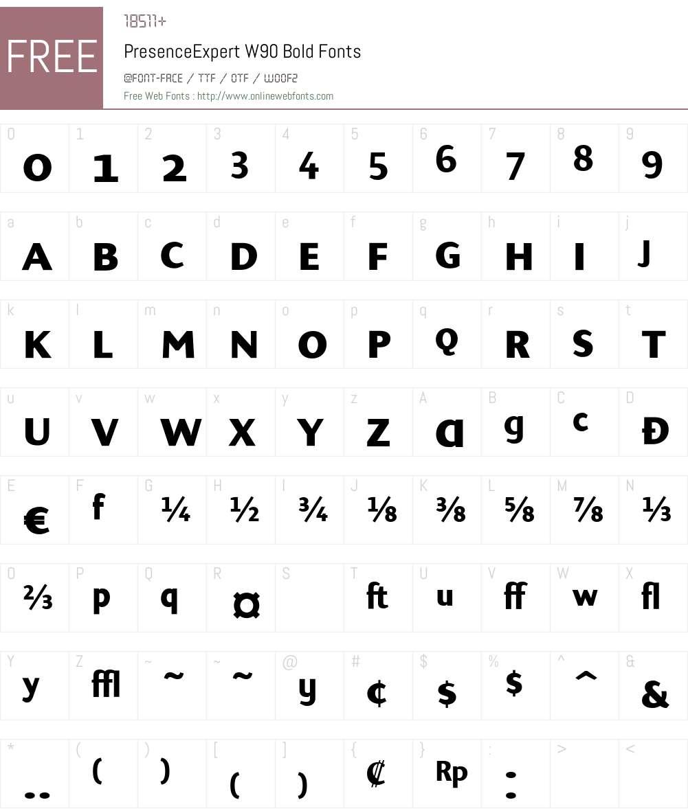 PresenceExpertW90-Bold Font Screenshots