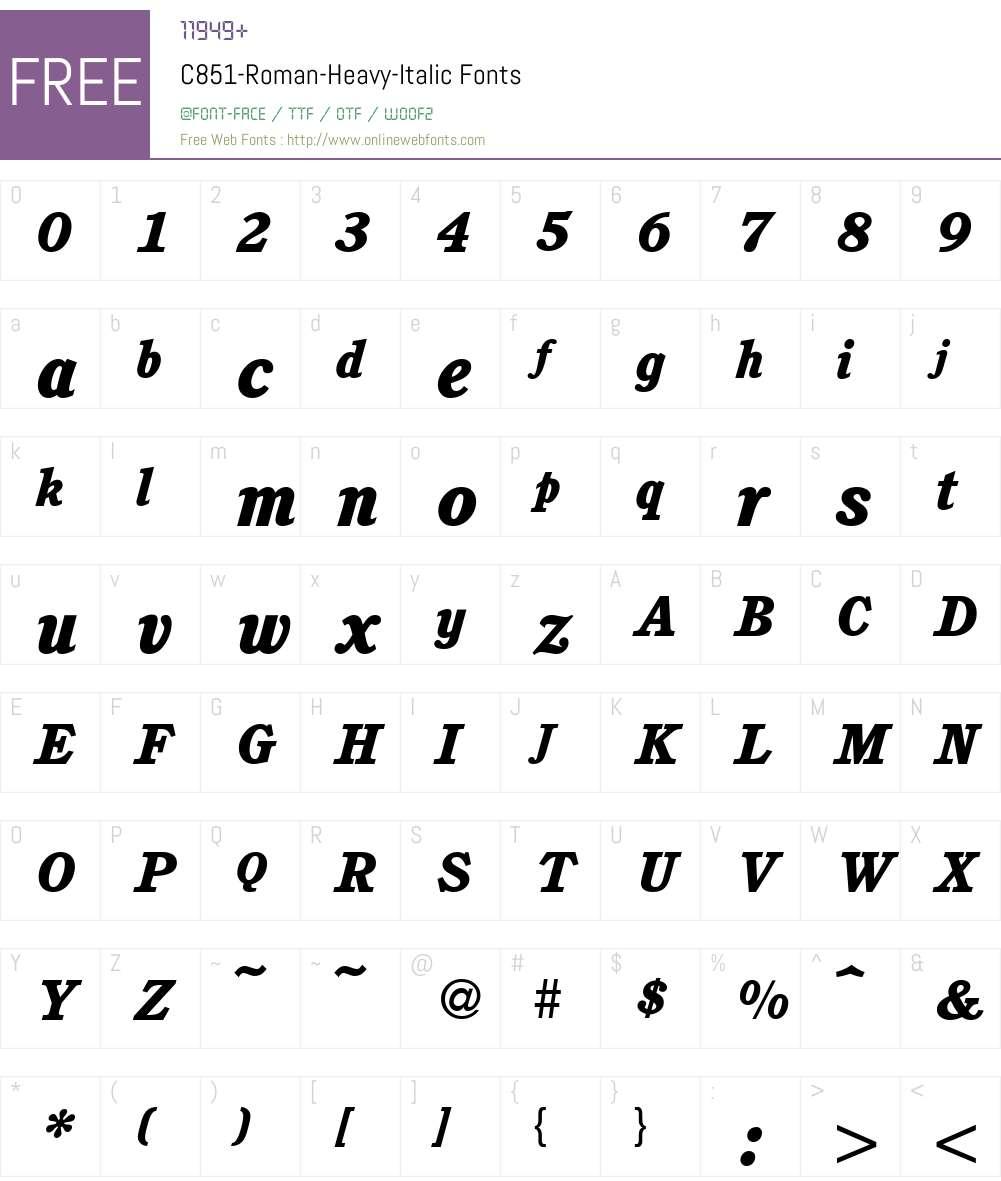 C851-Roman-Heavy Font Screenshots