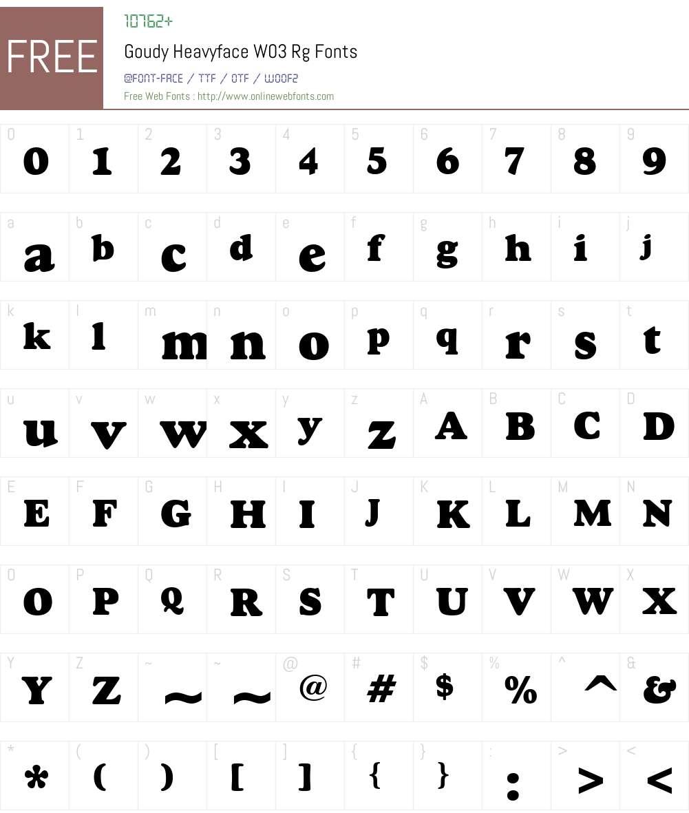Goudy Heavyface Font Screenshots