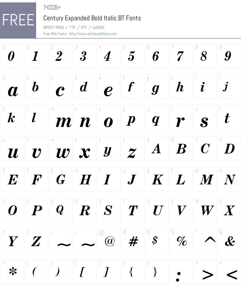 CenturyExpd BT Font Screenshots