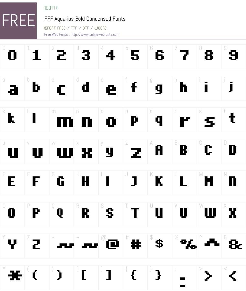 FFF Aquarius Bold Condensed Font Screenshots