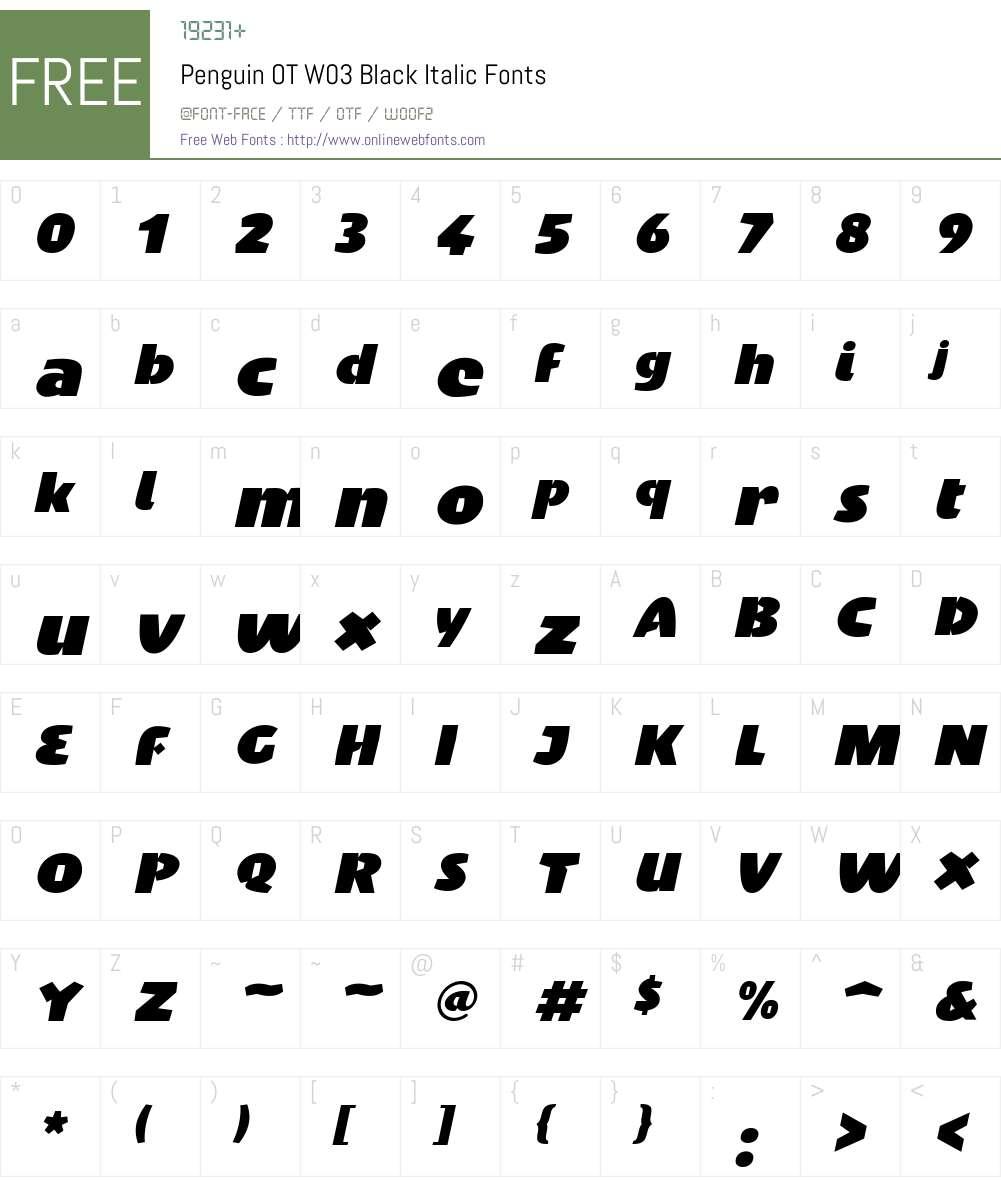 FF Penguin Font Screenshots