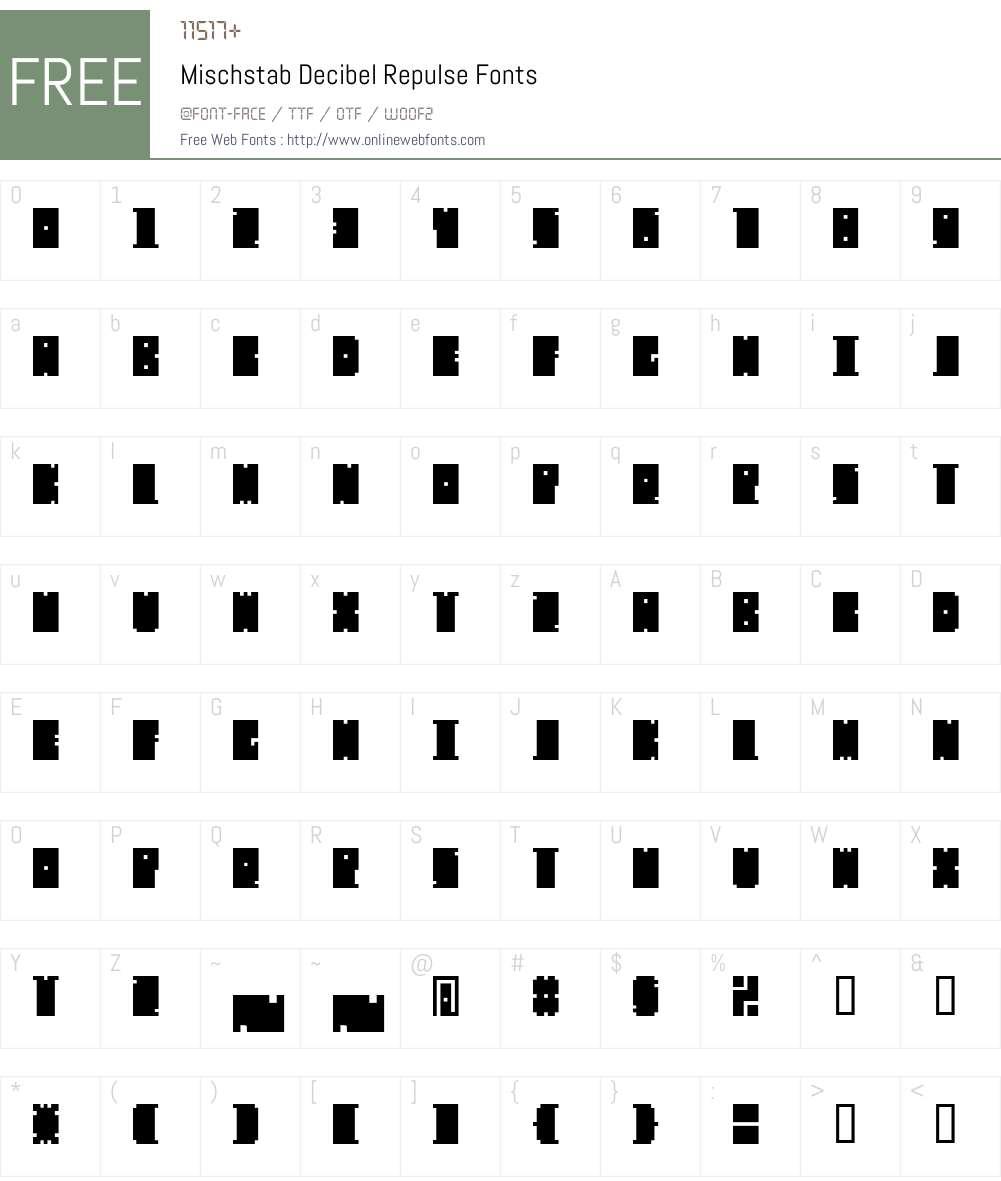 Mischstab Decibel Repulse Font Screenshots