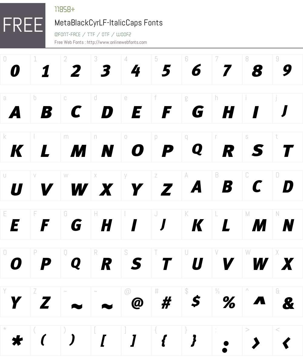 MetaBlackCyrLF-ItalicCaps Font Screenshots