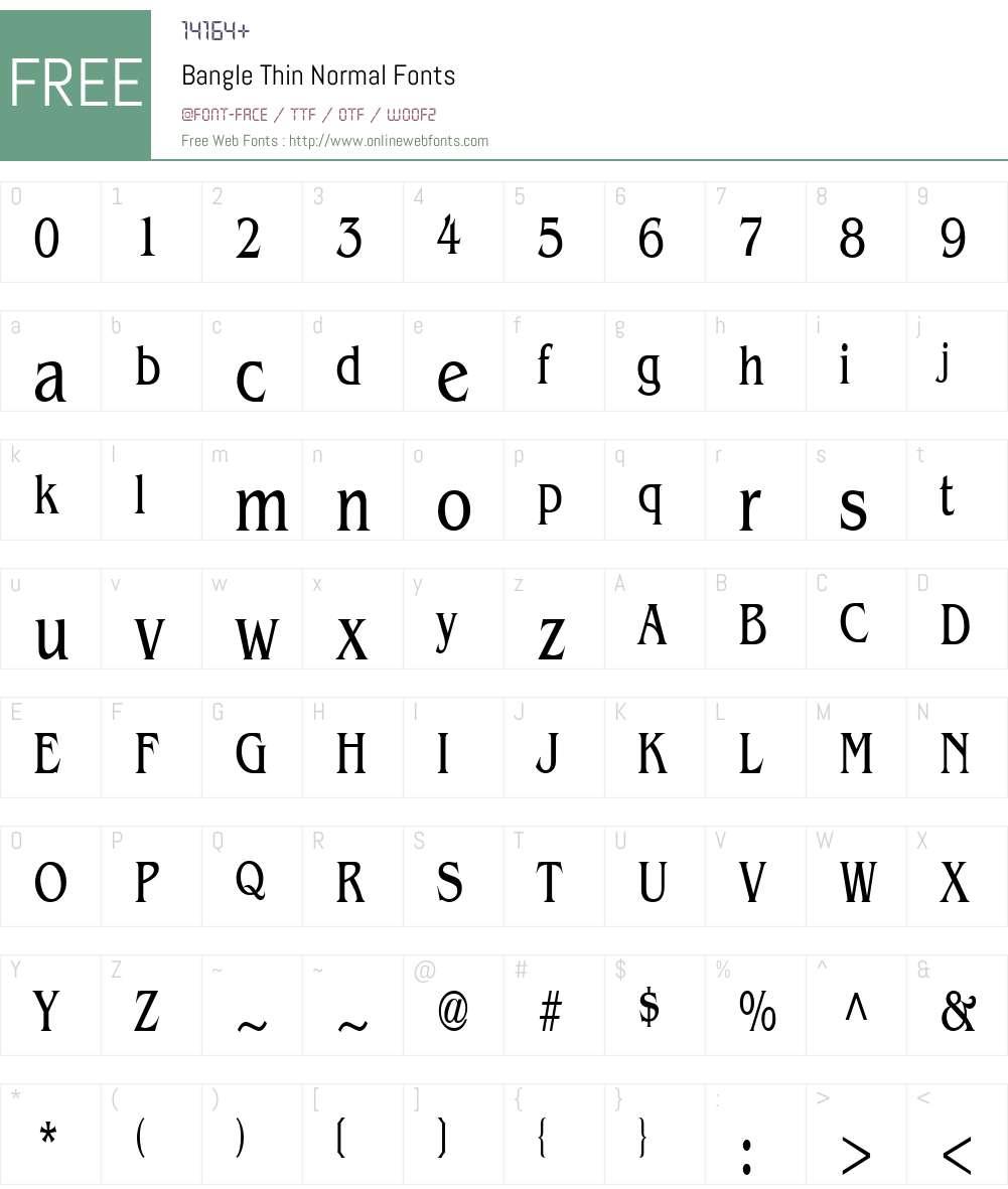 Bangle Thin Font Screenshots