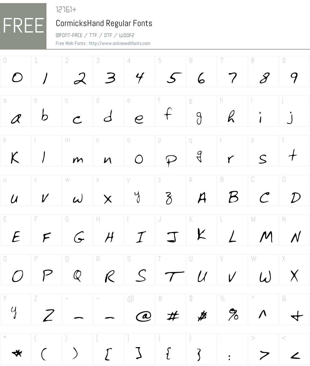 CormicksHand Font Screenshots