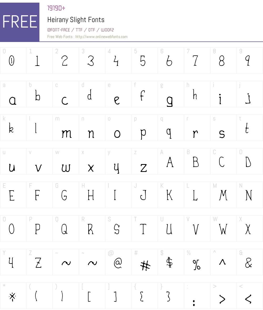 Heirany Slight Font Screenshots