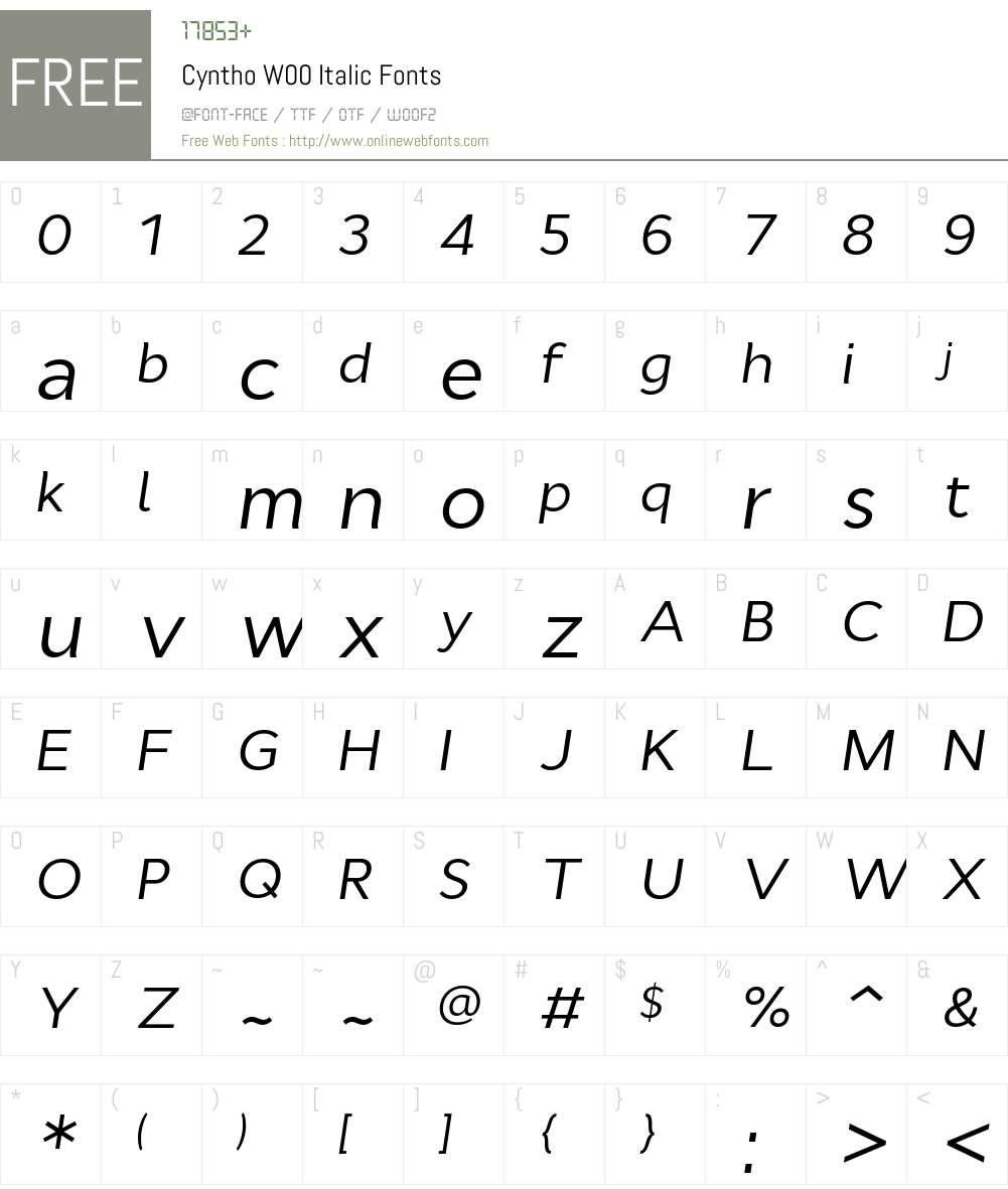 CynthoW00-Italic Font Screenshots