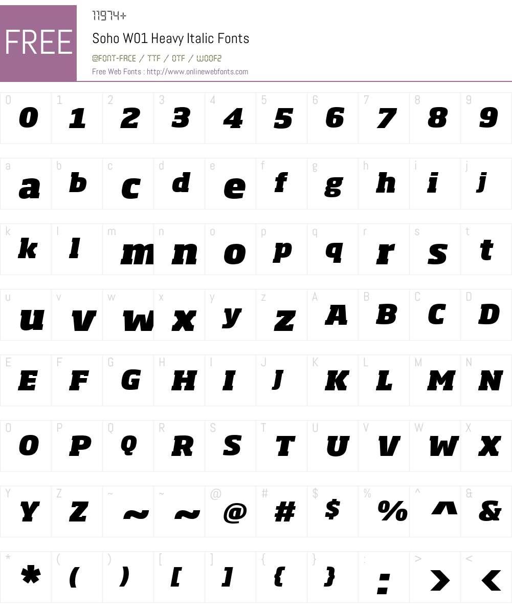SohoW01-HeavyItalic Font Screenshots
