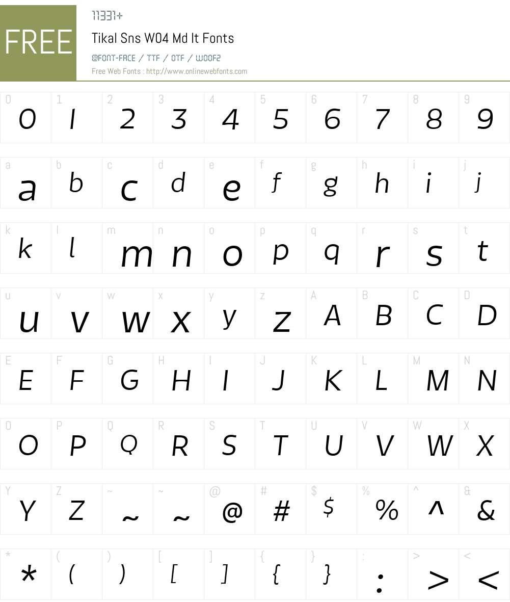 TikalSnsW04-MdIt Font Screenshots