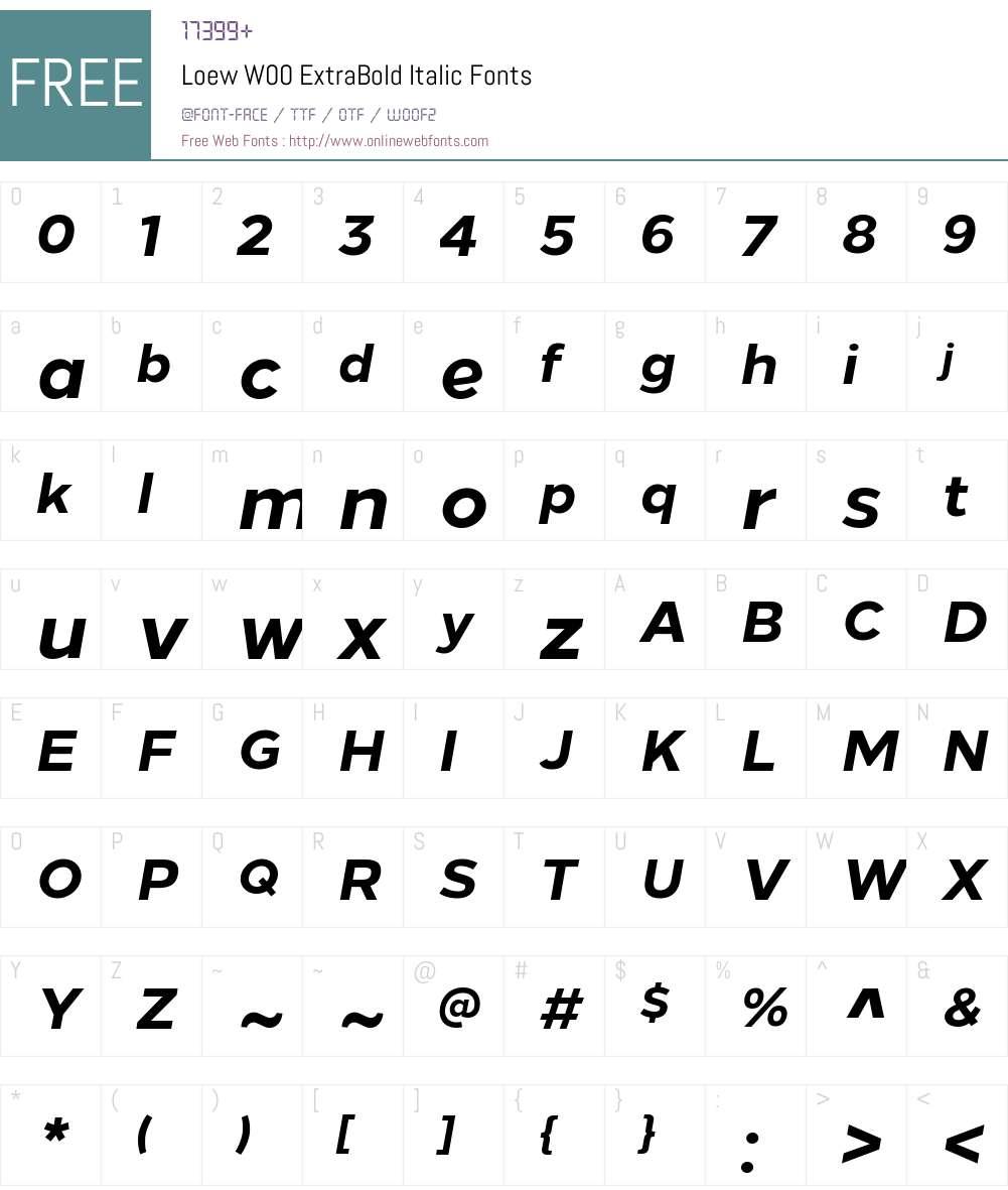 LoewW00-ExtraBoldItalic Font Screenshots