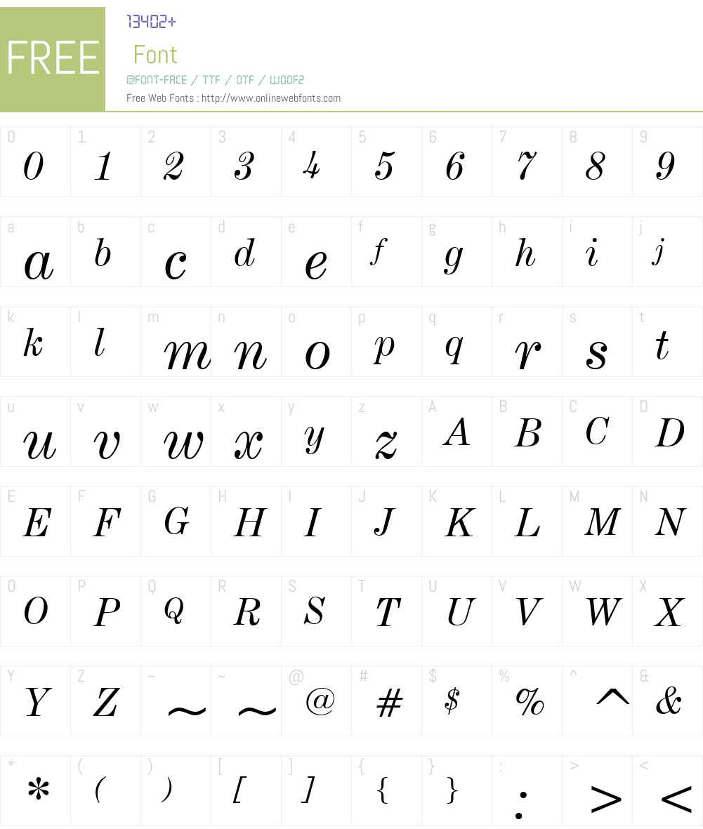 CenturyExpandedW01-Italic Font Screenshots