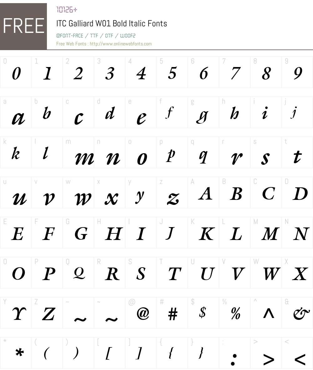 ITCGalliardW01-BoldItalic Font Screenshots