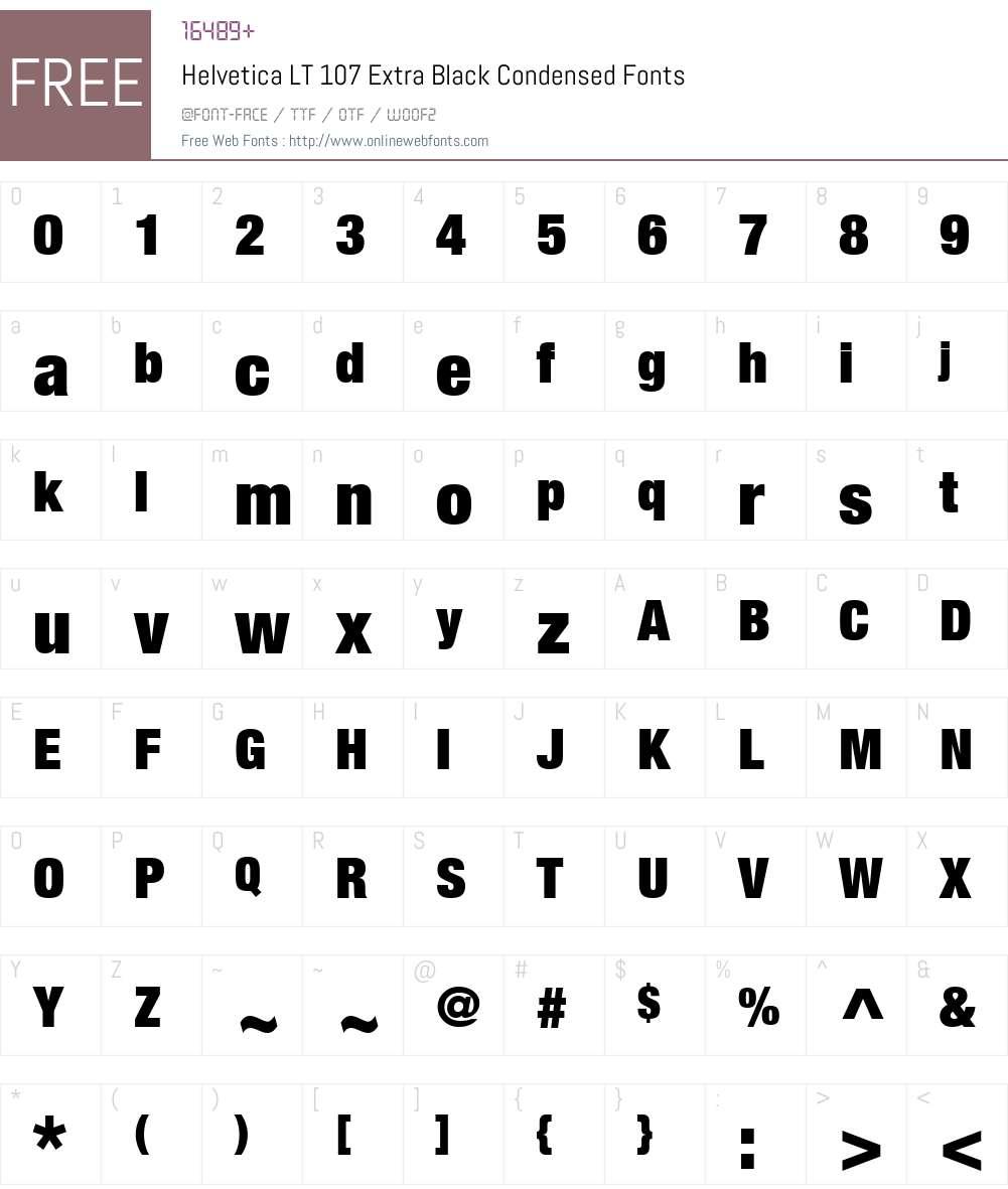 HelveticaNeue LT 107 XBlkCn Font Screenshots