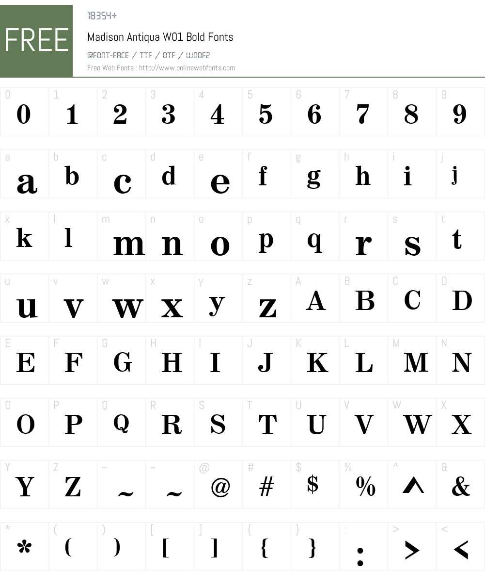MadisonAntiquaW01-Bold Font Screenshots