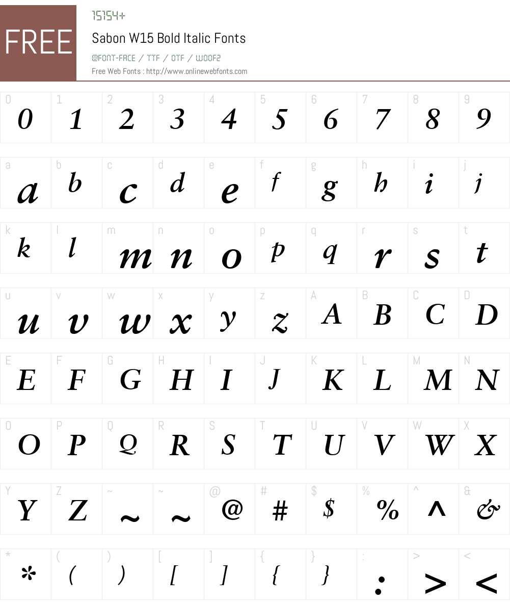 SabonW15-BoldItalic Font Screenshots
