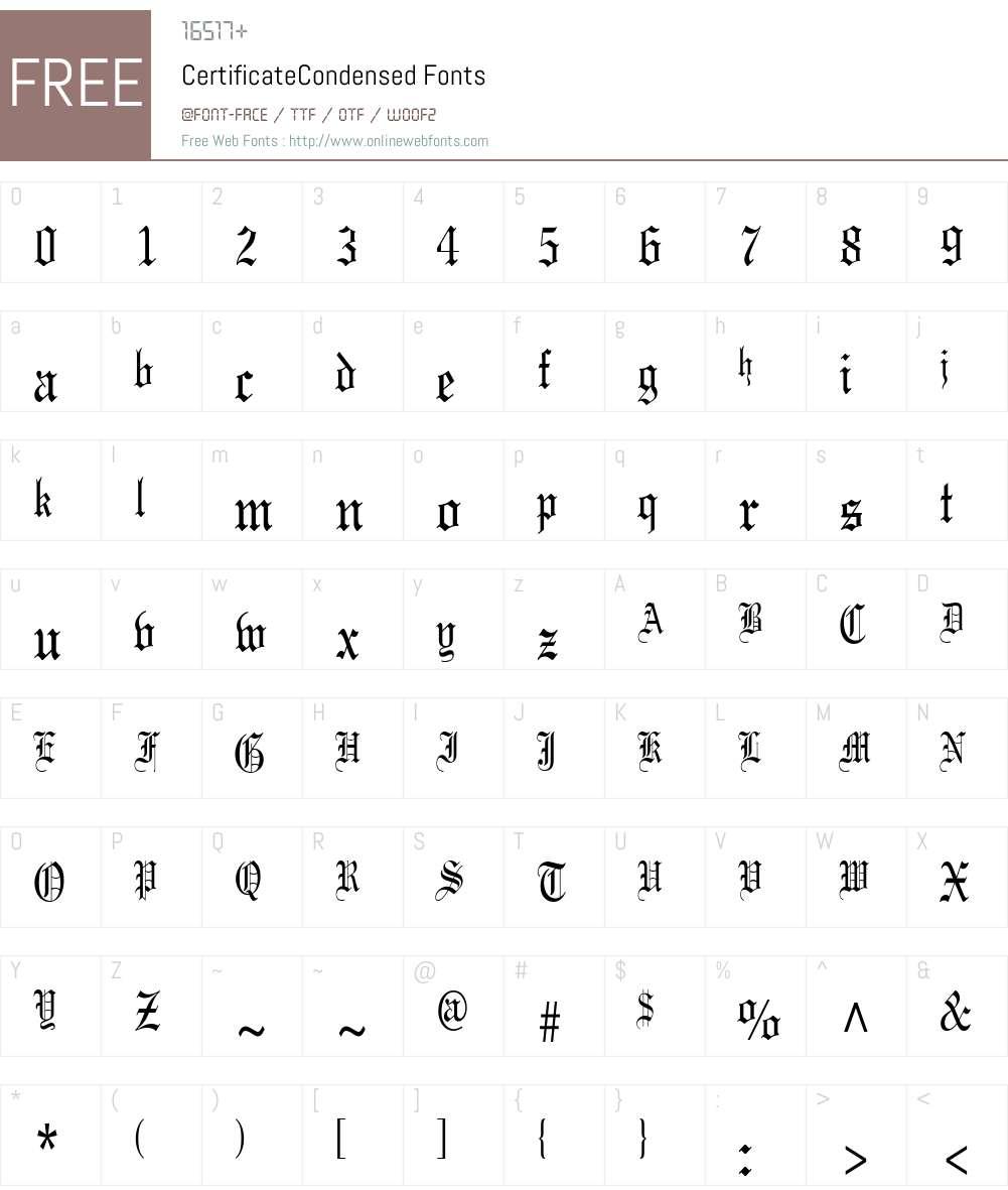 CertificateCondensed Font Screenshots