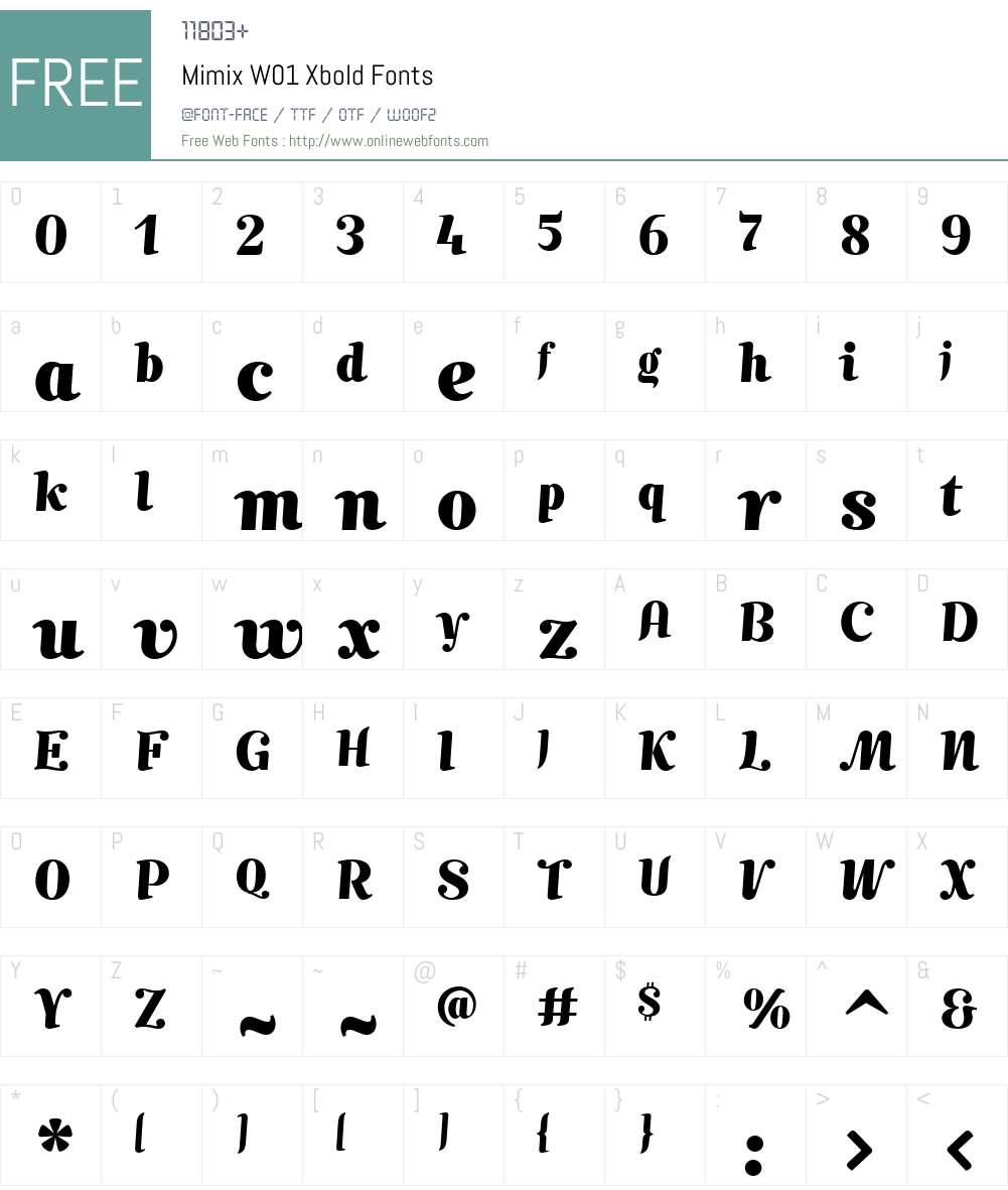 MimixW01-Xbold Font Screenshots