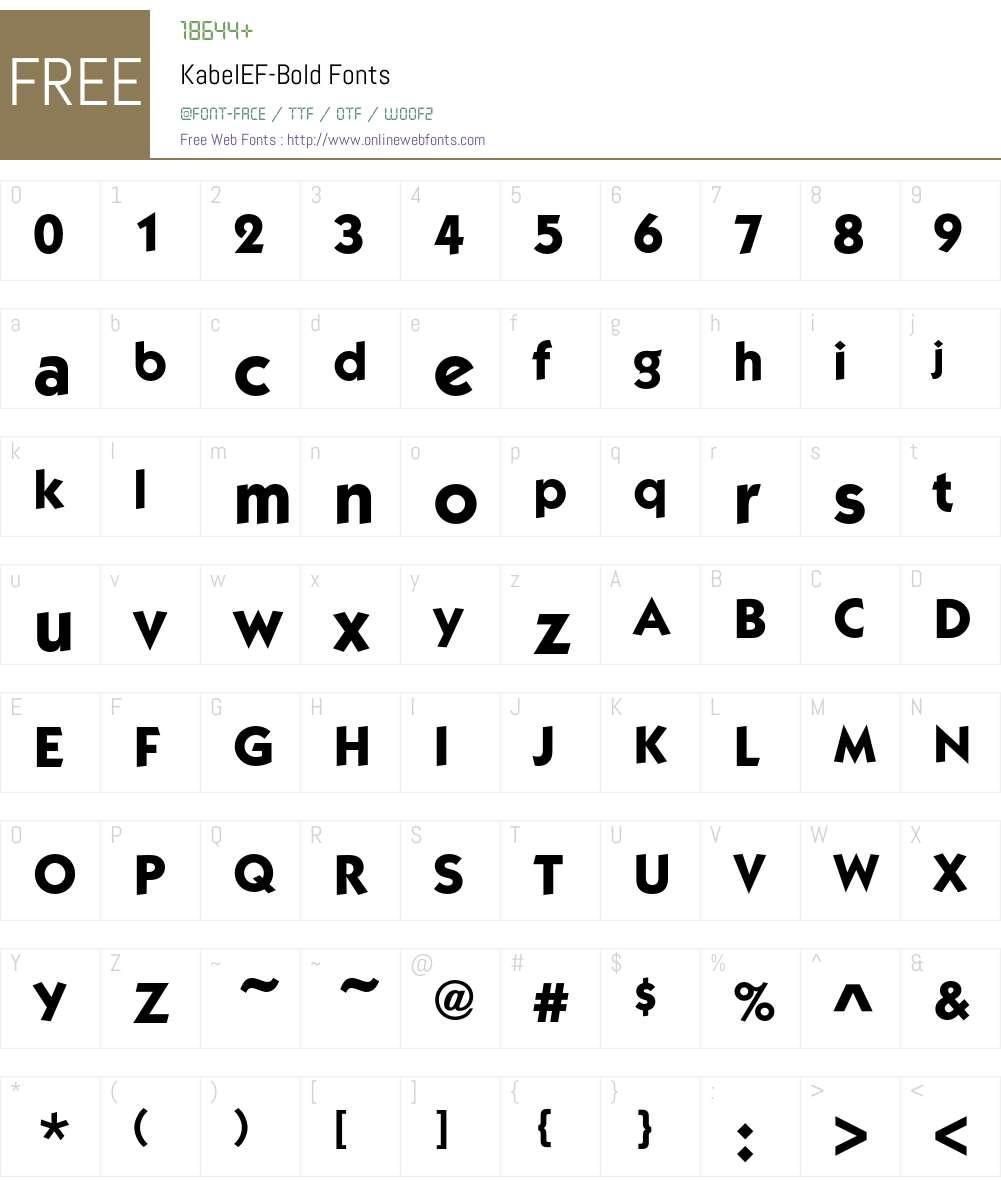 KabelEF-Bold Font Screenshots