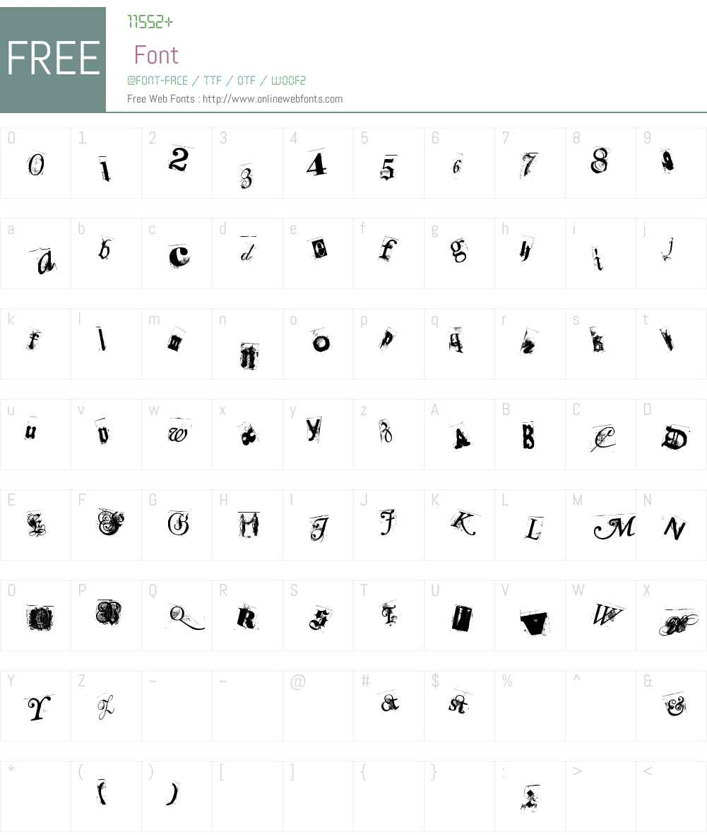 Collage annonymus Font Screenshots
