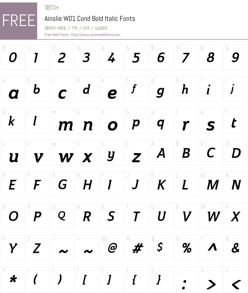 AinslieW01-CondBoldItalic Font Screenshots