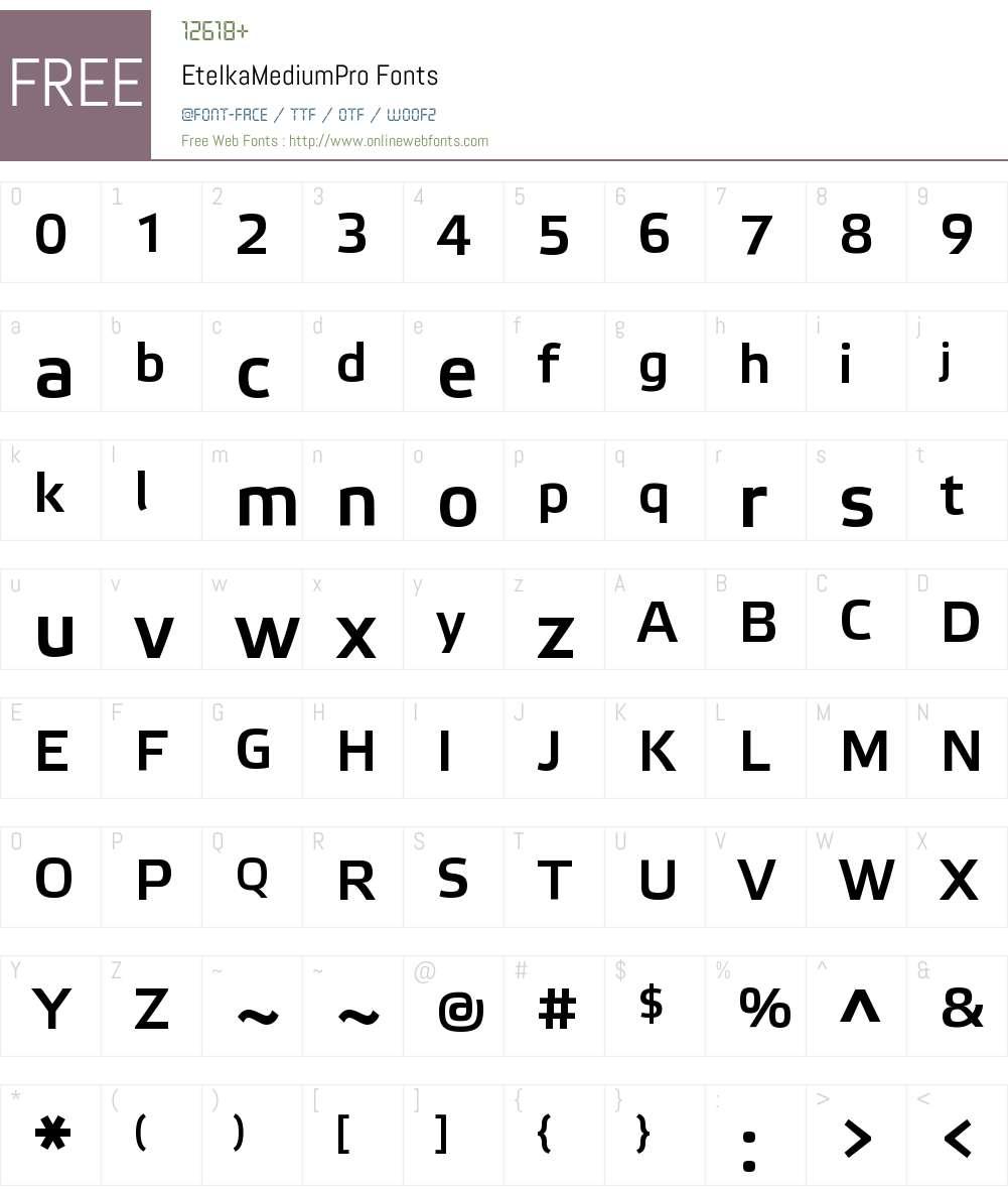 Etelka Medium Pro Font Screenshots