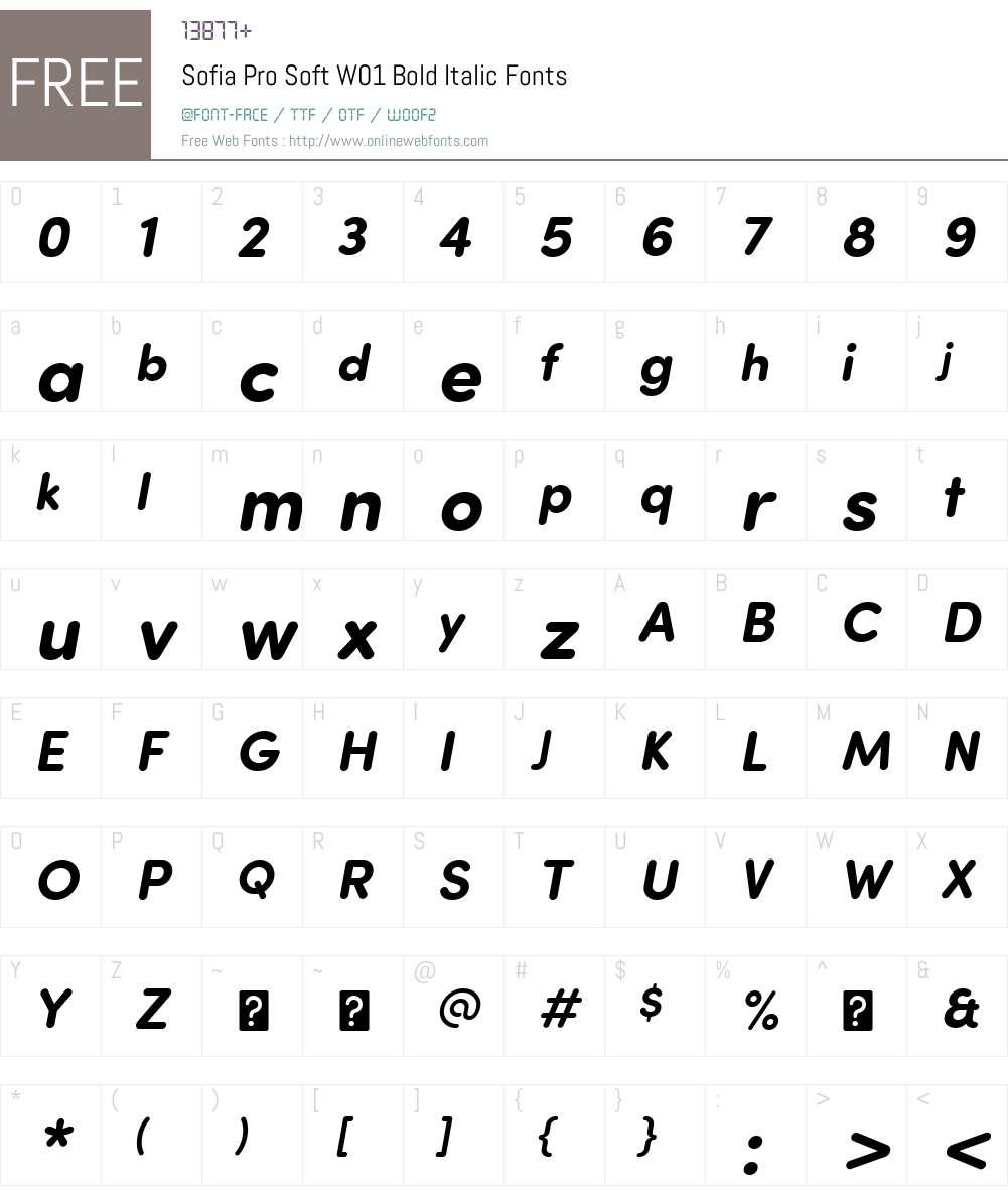 SofiaProSoftW01-BoldItalic Font Screenshots