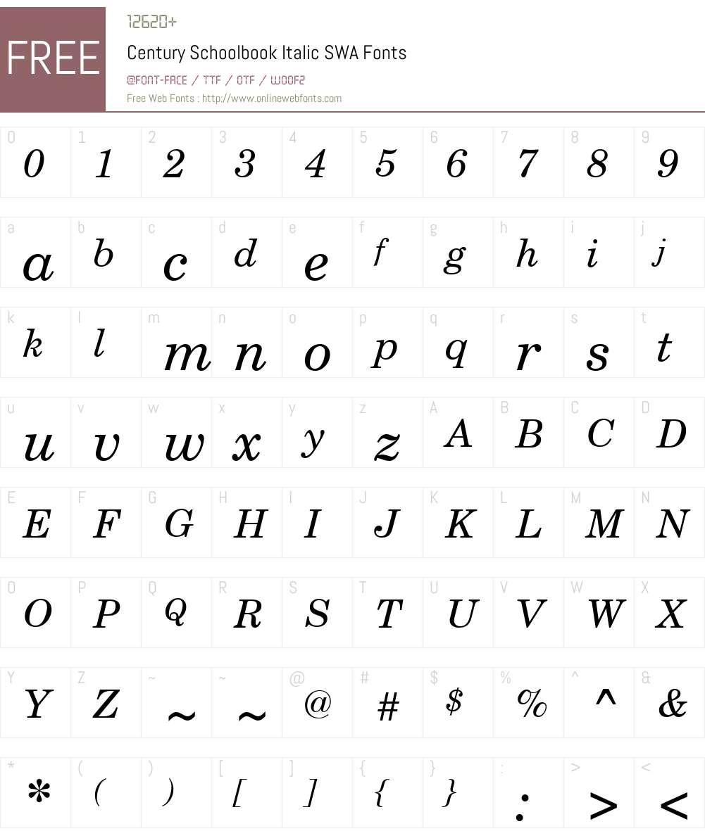 Century Schoolbook SWA Font Screenshots