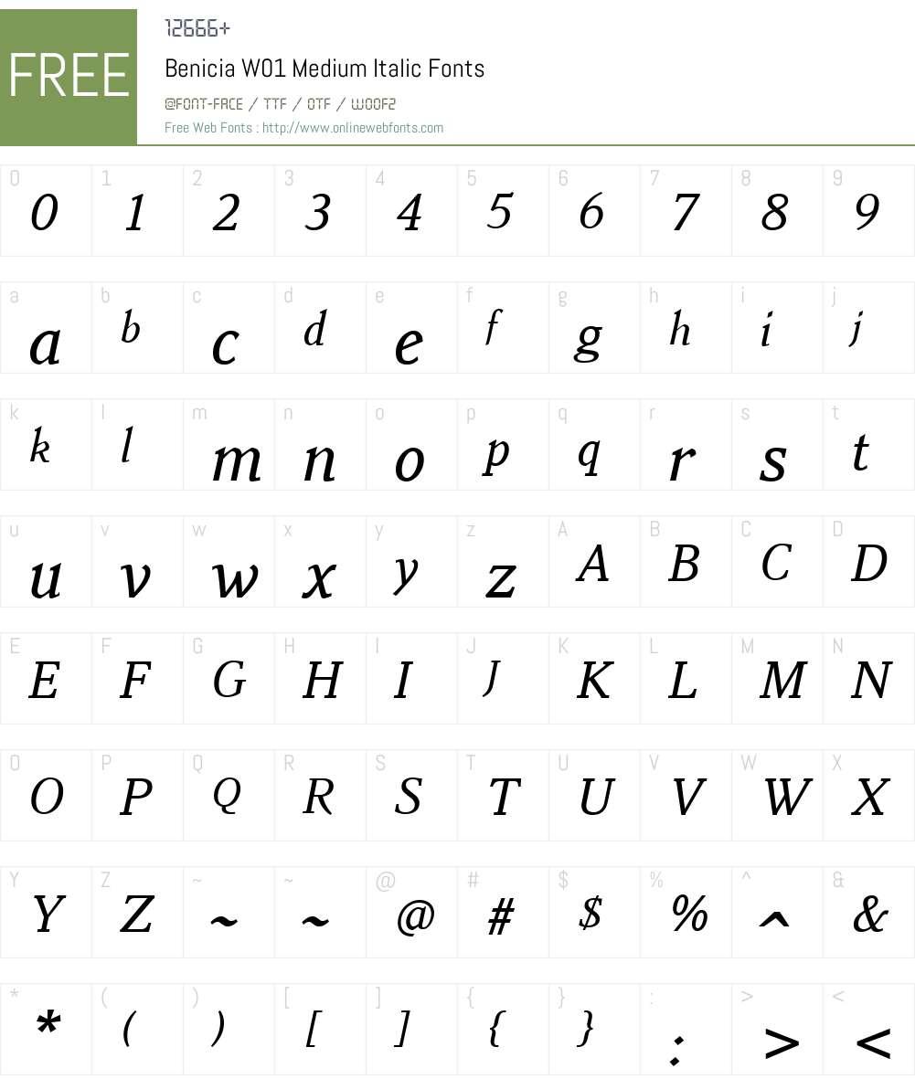 BeniciaW01-MediumItalic Font Screenshots