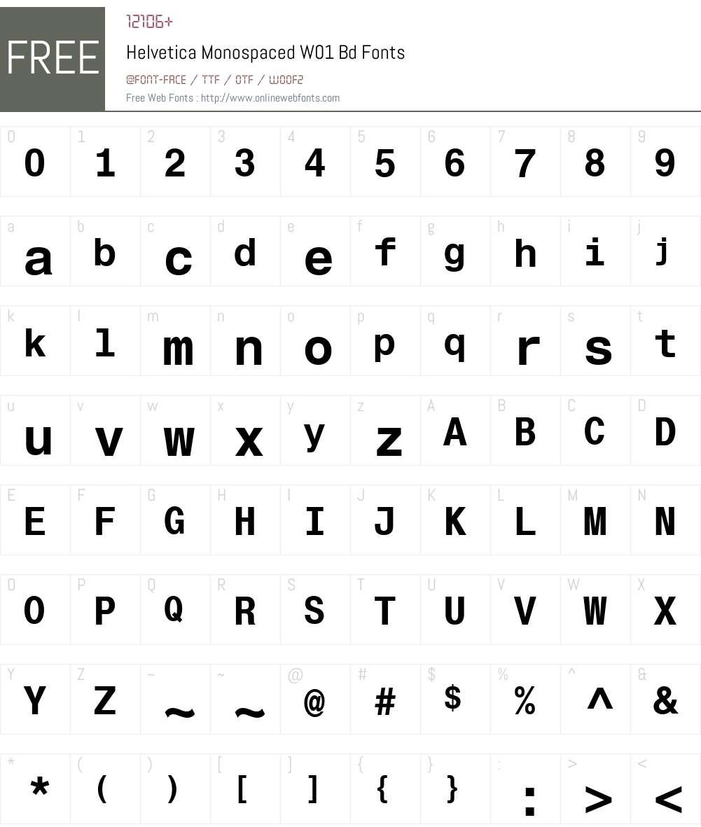 HelveticaMonospacedW01-Bd Font Screenshots