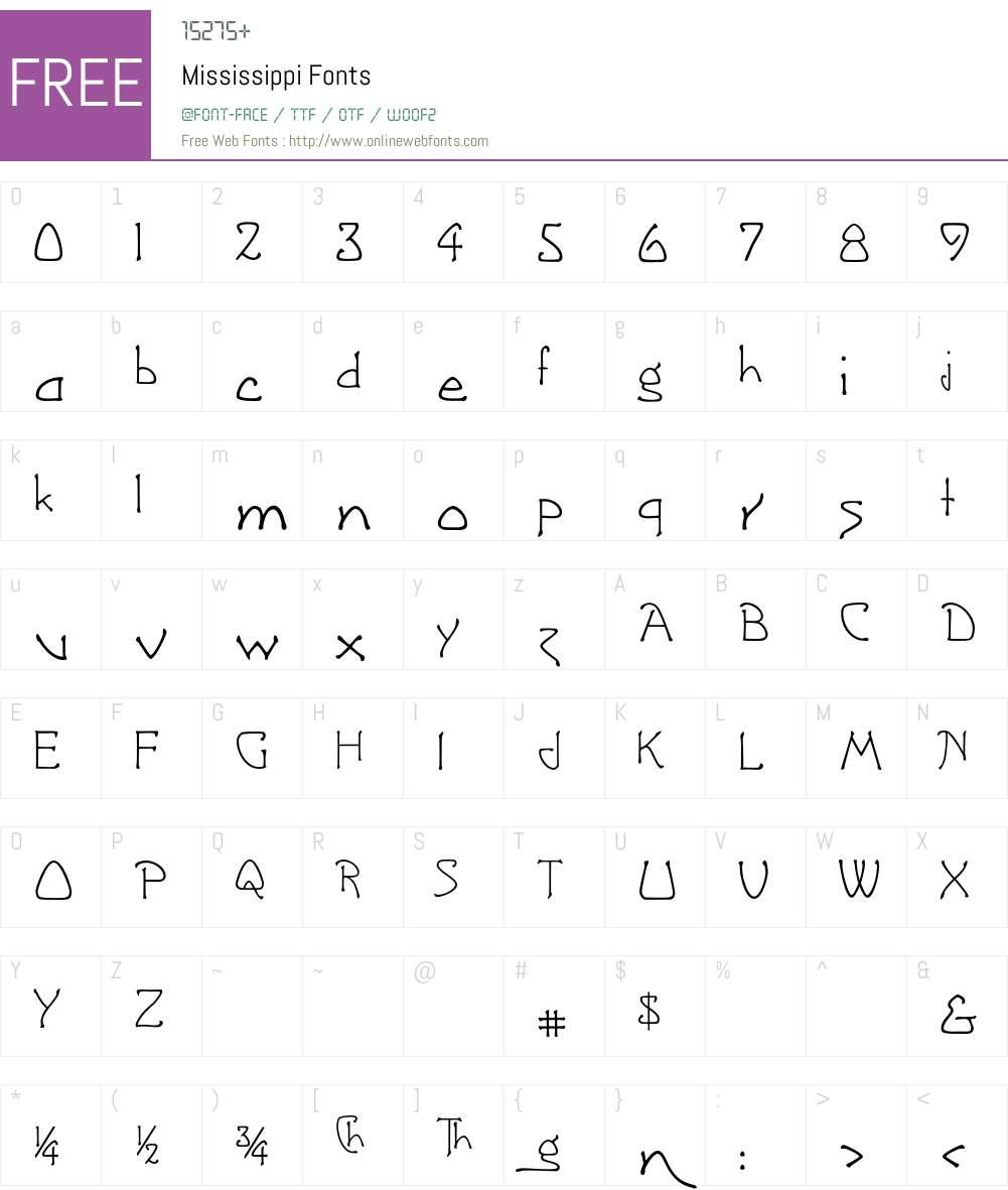 Mississippi Font Screenshots
