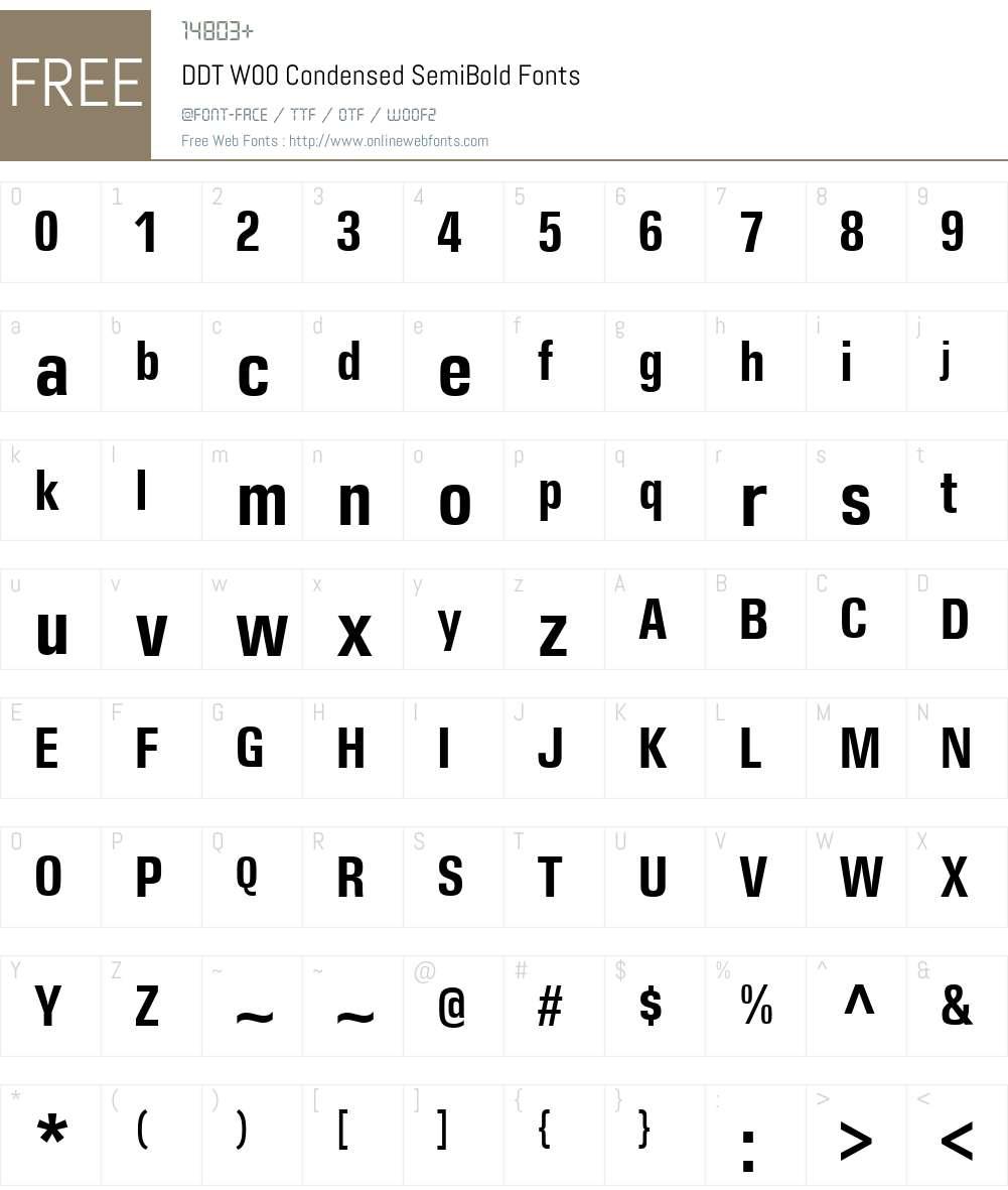 DDTW00-CondensedSemiBold Font Screenshots
