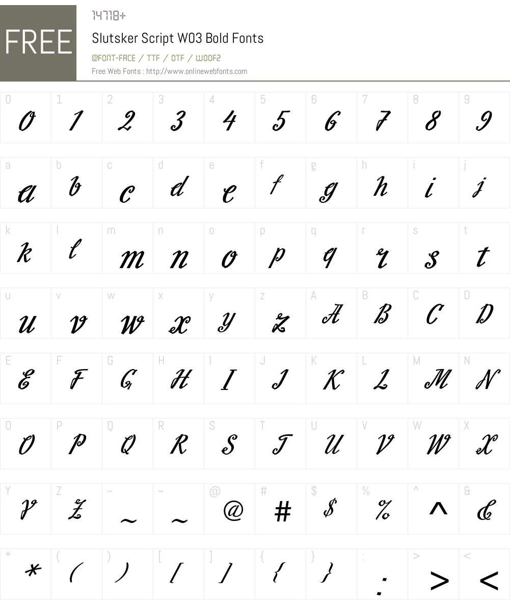 Slutsker Script Font Screenshots