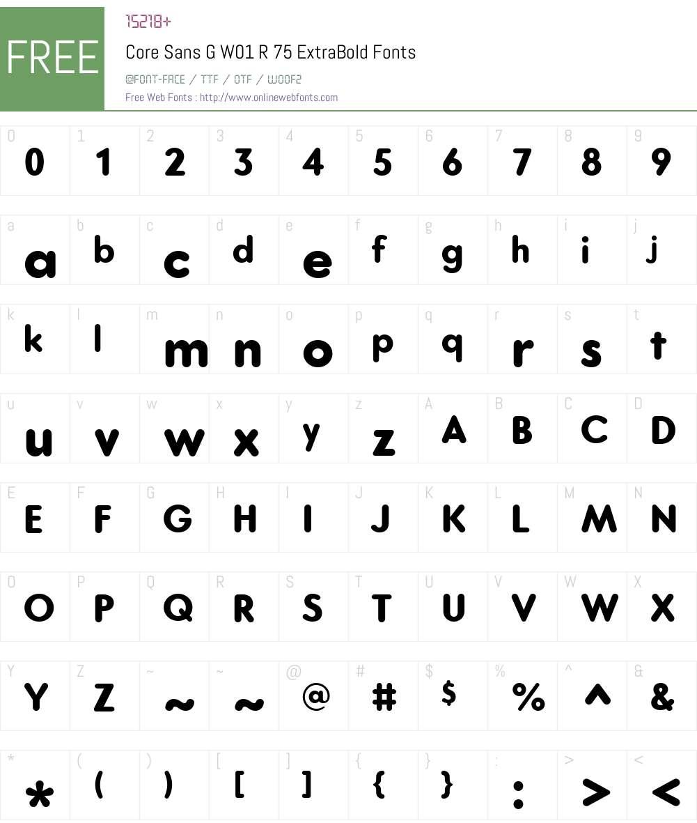 CoreSansGW01-R75ExtraBold Font Screenshots