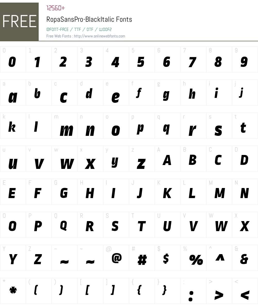 Ropa Sans Pro Black Font Screenshots