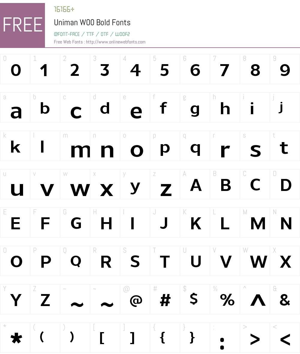 UnimanW00-Bold Font Screenshots