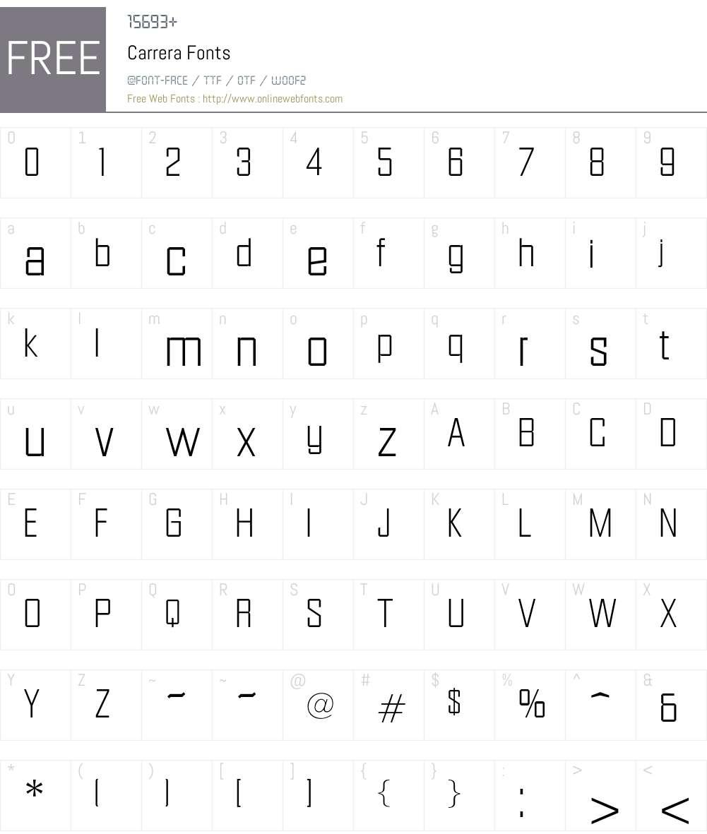 Carrera Font Screenshots