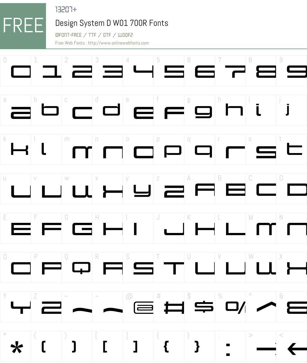 DesignSystemDW01-700R Font Screenshots