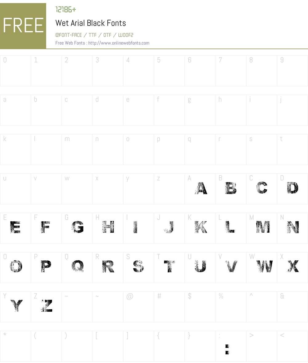 Wet Arial Font Screenshots