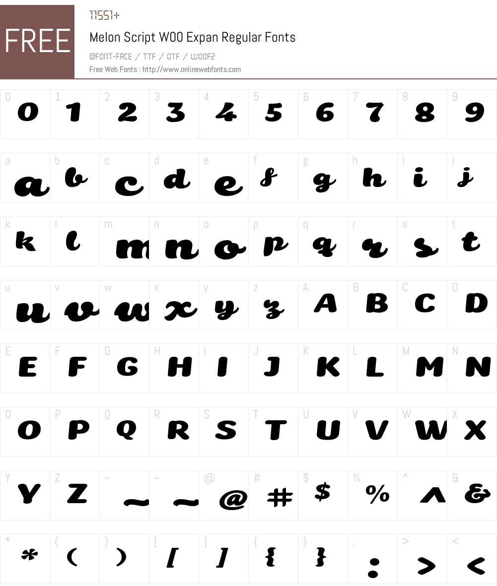 MelonScriptW00-ExpanRegular Font Screenshots