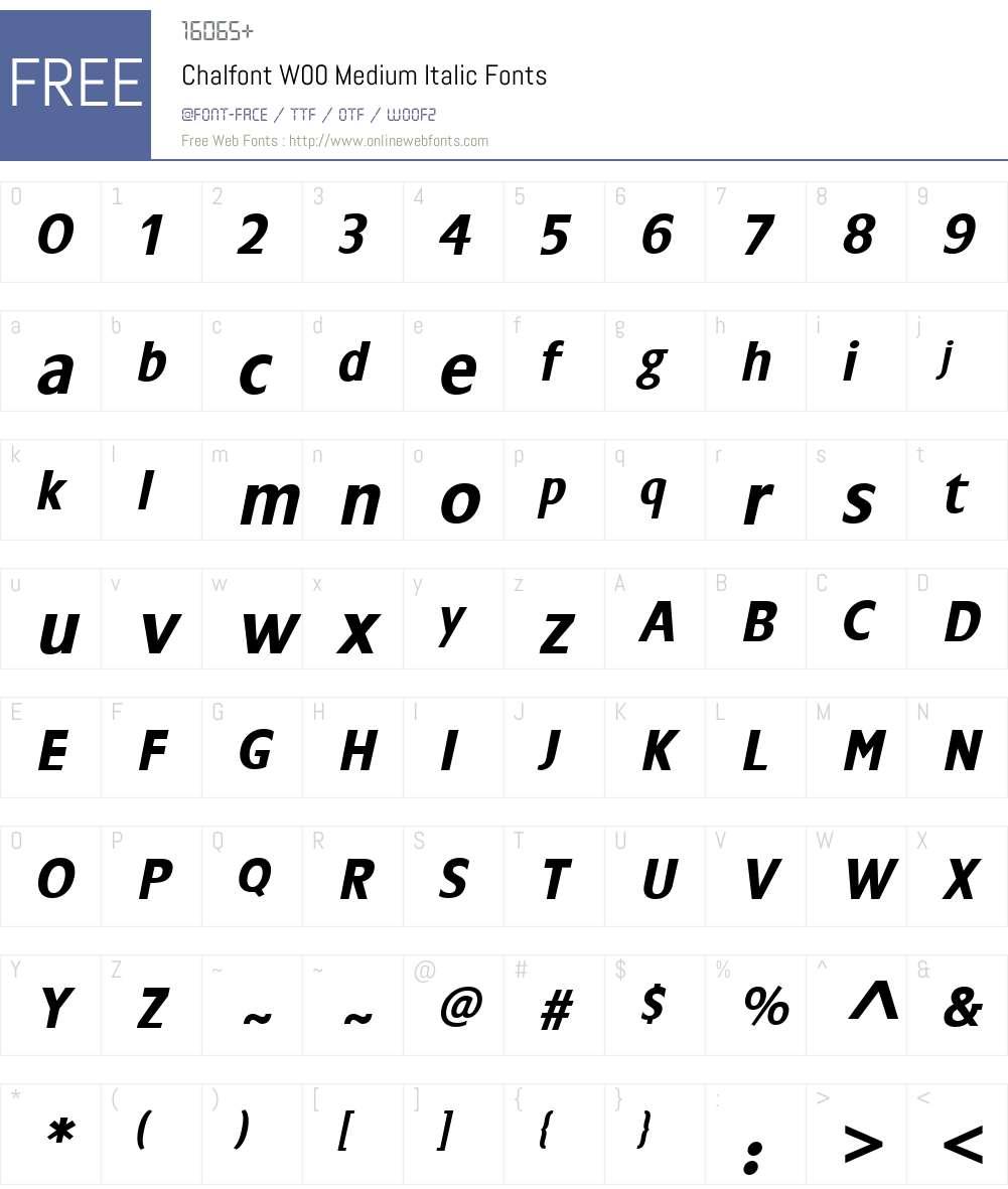 ChalfontW00-MediumItalic Font Screenshots