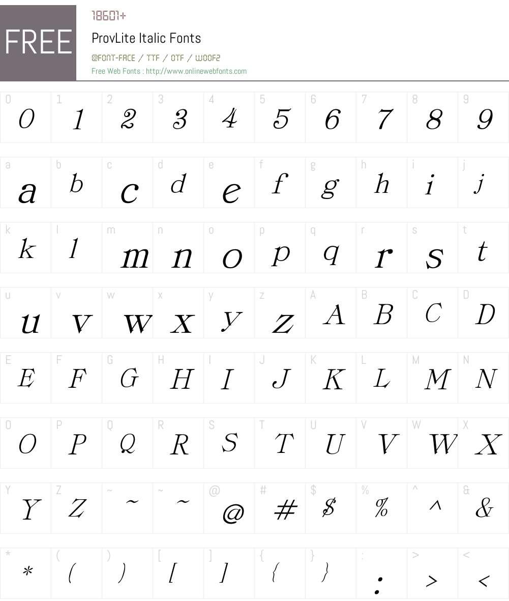 ProvLite Italic Font Screenshots