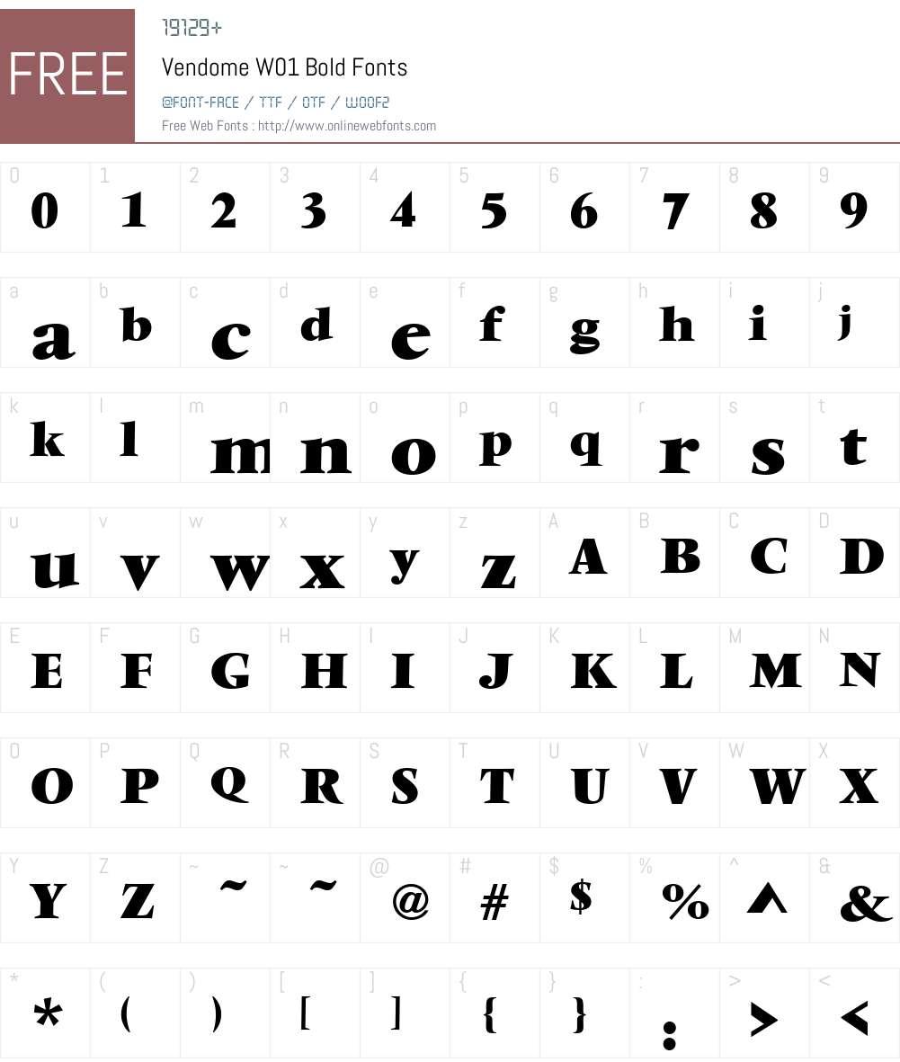 VendomeW01-Bold Font Screenshots
